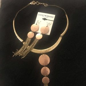 Lucky Brand earrings and necklace,Rose gold